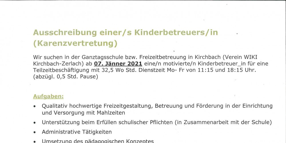 Foto: Foto: GTS-Freizeitbetreuung Kirchbach